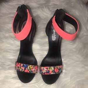 Hot pink & floral design heel